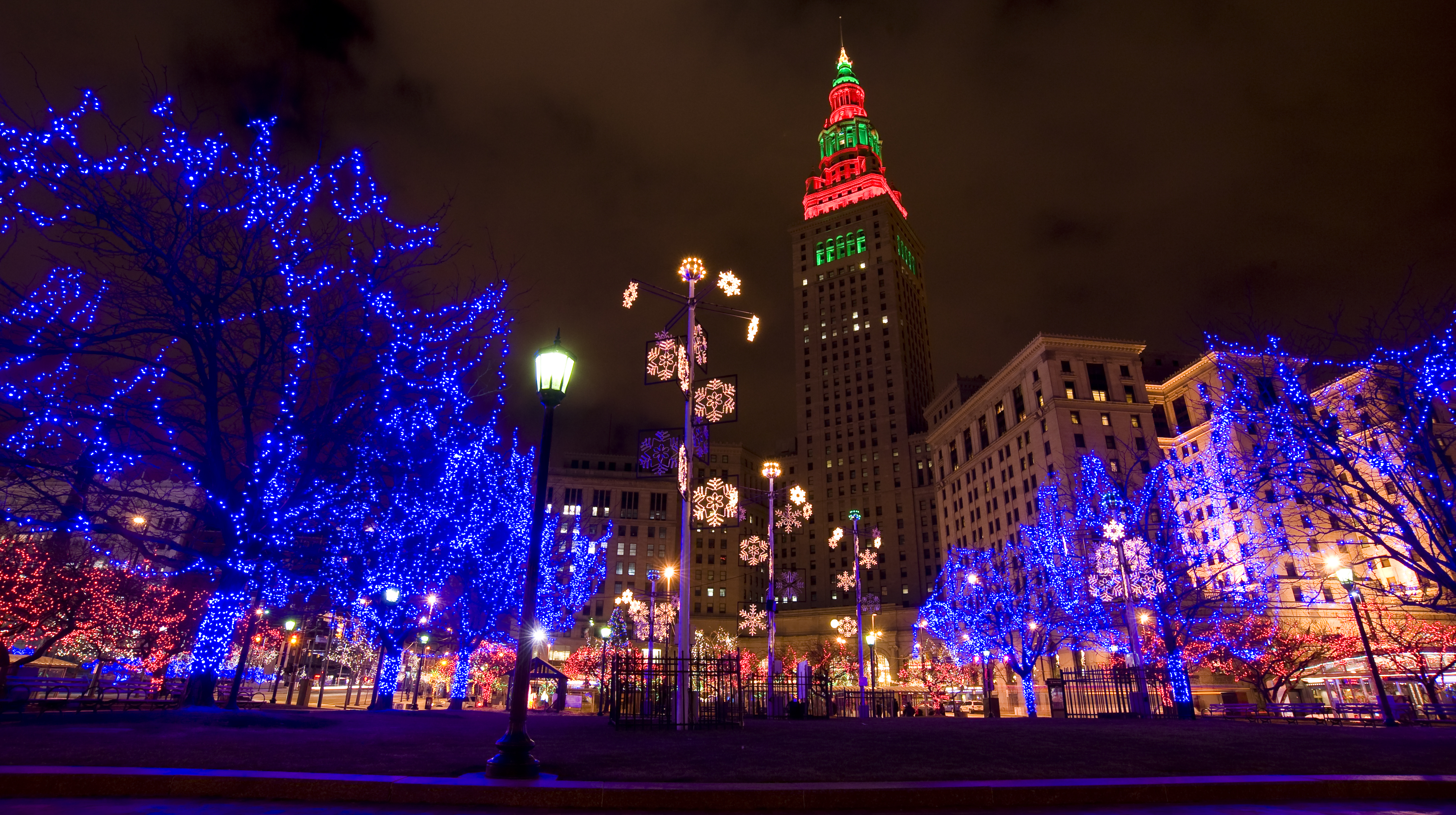Photos of holiday lights on Public Square in downtown Cleveland.